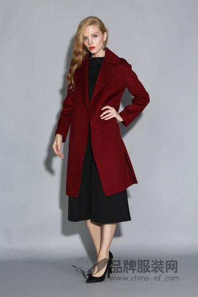 丽约尔女装2017秋冬时尚大气中长款酒红色呢子大衣