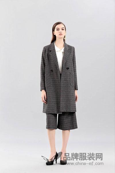 艾丽哲女装2017冬季正式欧款中长款西装风套装