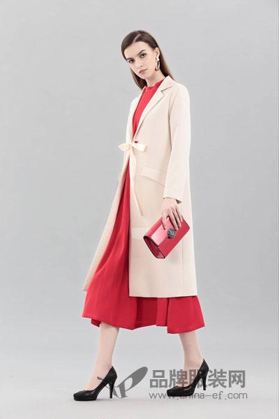艾丽哲女装2017冬季时尚甜美绑带呢子大衣