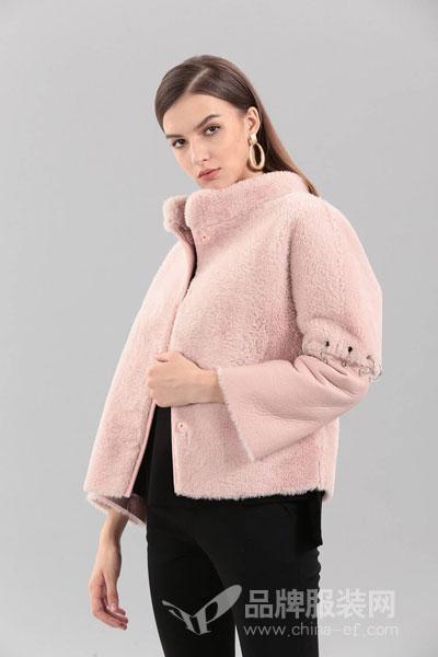艾丽哲女装2017冬季时尚粉色拼接外套