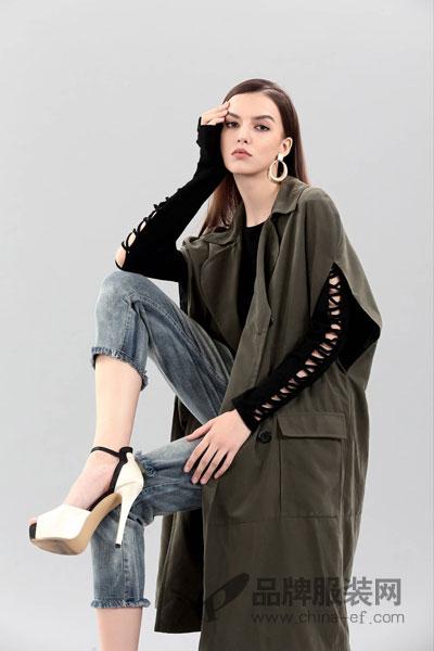 艾丽哲女装2017冬季个性休闲中长款背心外套