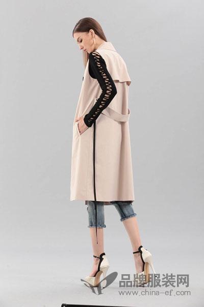 艾丽哲女装2017冬季个性开叉袖印花上衣