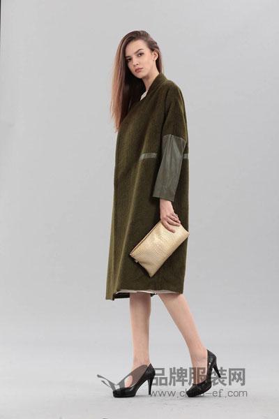 艾丽哲女装2017冬季两色拼接军绿色大衣