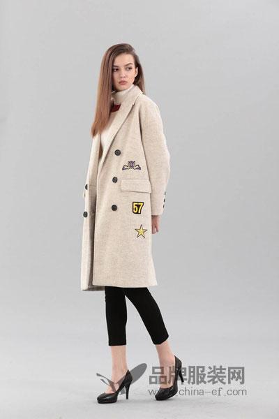 艾丽哲女装2017冬季时尚大气中长款呢子外套