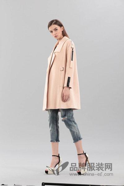 艾丽哲女装2017冬季个性休闲风呢子大衣