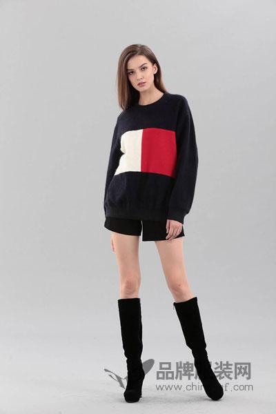 艾丽哲女装2017冬季个性两色拼接上衣