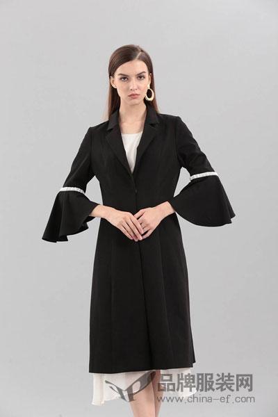 艾丽哲女装2017冬季时尚喇叭袖外套