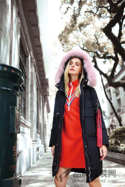 丹菲诗女装2017秋冬个性休闲两色拼接中长款黑棉大衣