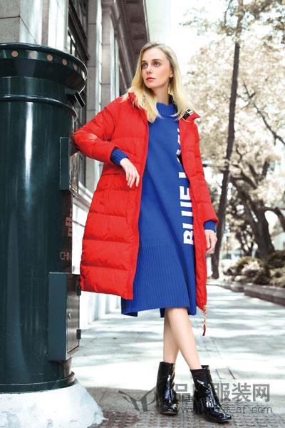 丹菲诗女装2017秋冬时尚简约大红色中长款棉大衣