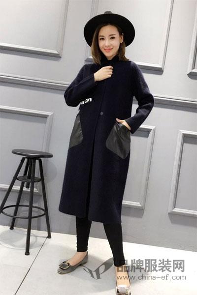 靓漫蒂女装2017秋冬个性休闲中长款呢子外套