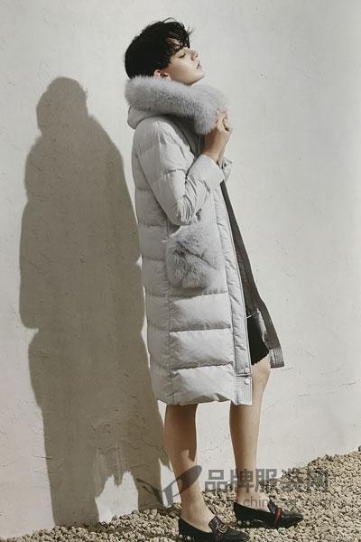 点占女装2017冬季时尚休闲保暖中长款灰色棉大衣