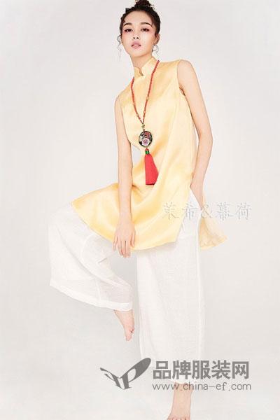 幕荷女装古立领丝绸套装