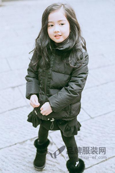 PIDER BB童装女童装斜拉链90%白鸭绒羽绒服短款外套