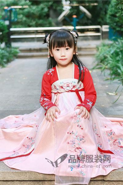 初立童装粉色复古唐装