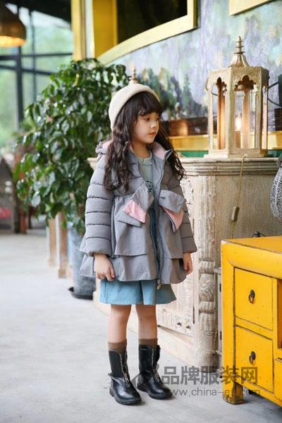 棉花驿站童装2017秋冬时尚甜美中长款女棉衣