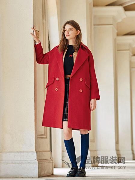 布莎卡女装2017秋冬时尚欧式中长款大红色呢子大衣