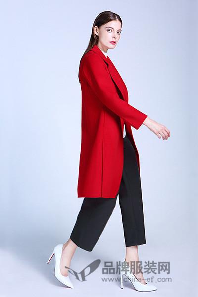 翩翩女孩-隽女装2017秋冬时尚优雅中长款呢子红色外套