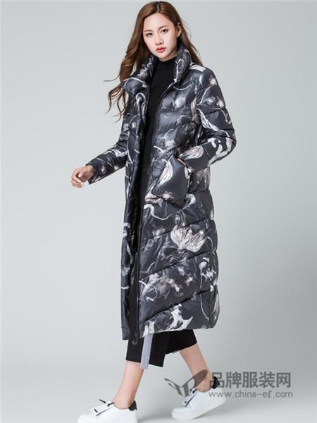 名妹女装2017秋冬新款羽绒服女中国水墨印花围裹式中长加厚外套