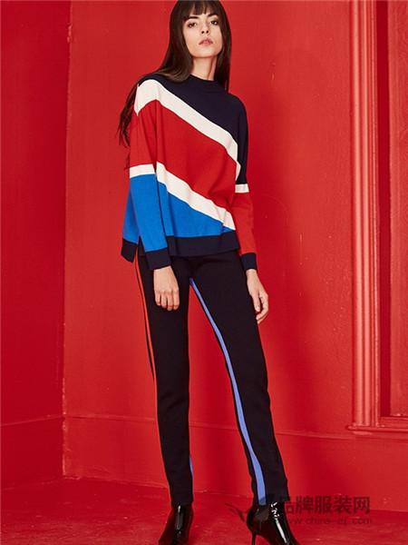 MOJOSPHINE女装2017秋冬针织衫新款撞色设计羊毛衣