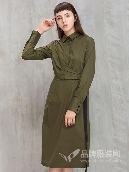 茜碧女装2017冬季中长款宽松纯色显瘦裙子系带长袖衬衫连衣