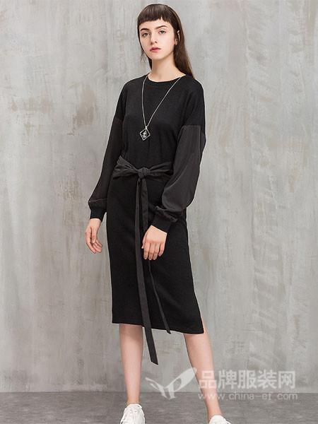茜碧女装2017冬季中长款宽松显瘦纯色裙子系带长袖拼接连衣