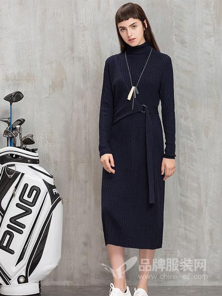 茜碧女装2017冬季中长款长袖高领针织连衣裙系带条纹毛衣裙