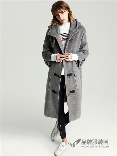 所在女装2017秋冬欧式双排扣中长款呢子外套
