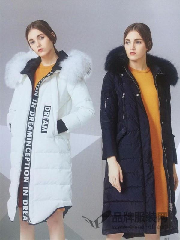 苒逅女装2017秋冬欧式休闲中长款棉衣