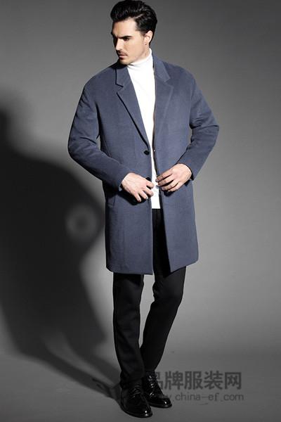 巴鲁特男装2017秋冬时尚帅气商务呢子西装中长外套