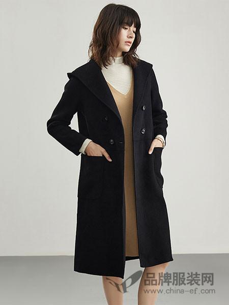 浅秋女装2017秋冬羊毛中长款九分袖开叉双面呢大衣女外套