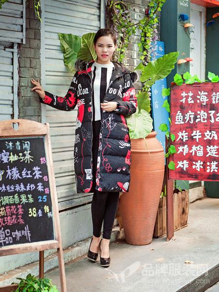 武汉惠品女装2017秋冬个性休闲中长款黑色棉大衣