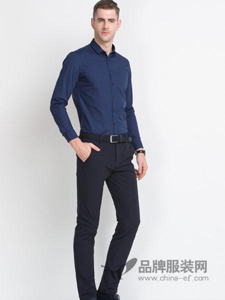 袋鼠男装2017秋冬商务职业装纯色白衬衣 修身免烫男长袖休闲方领寸衫