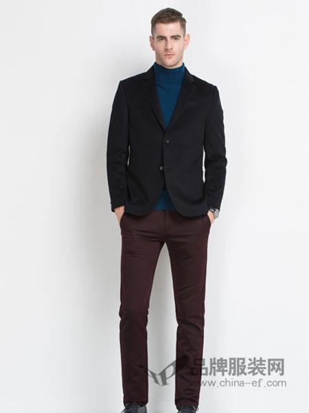 袋鼠男装2017秋冬羊毛呢子休闲西服男士修身单西装外套韩版潮流青年