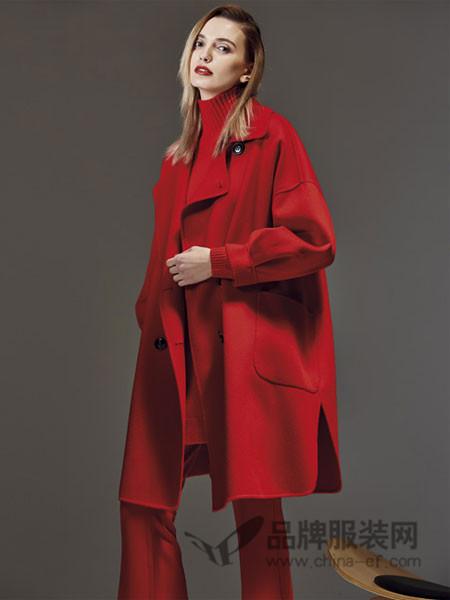 艾米尔女装2017秋冬新款修身毛呢外套双面羊绒羊毛女大衣