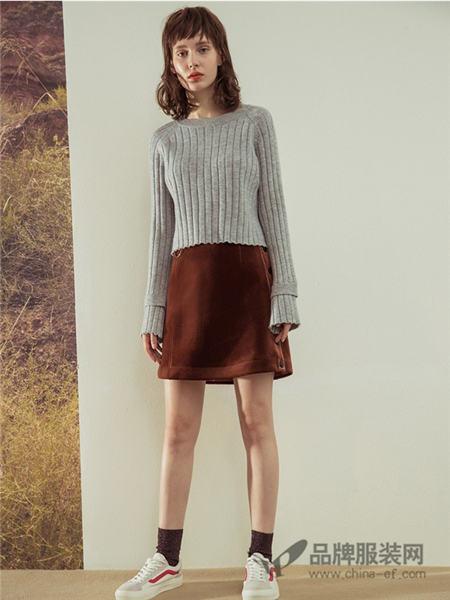 朗文斯汀女装2017秋冬时尚女装修身显瘦针织衫开叉包臀半身裙两件套套装裙