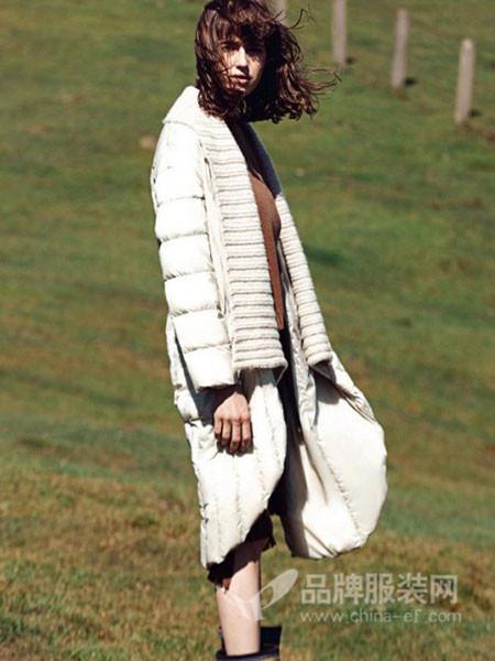TALASA塔拉夏女装2017秋冬膝长款加厚棉衣女羽绒棉服韩国大毛领时尚外套潮