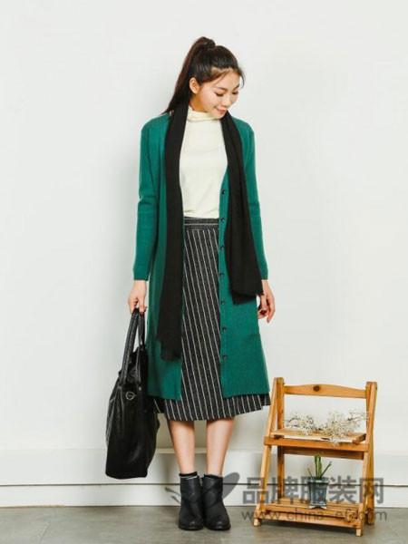 卡凡衣诺女装2017秋冬羊毛绒大衣中长款双面显瘦系带加厚墨绿色