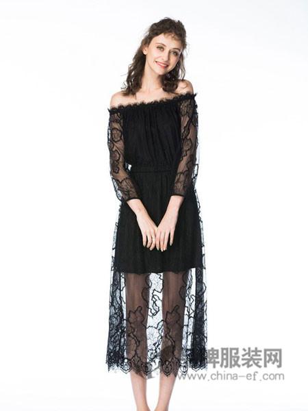 她啦(taitiat)女装2017秋冬字肩收腰长款蕾丝连衣裙