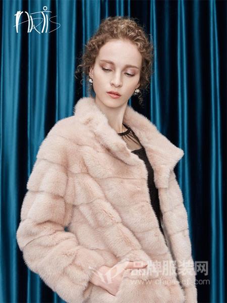 雅迪斯女装2017秋冬高领毛短款女外套羊剪绒大衣