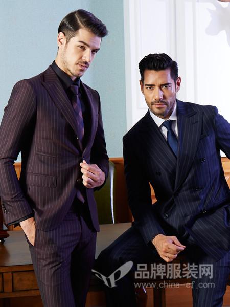 BEAUBERT博铂定制男装2017秋冬英伦时尚深紫色条纹正装西服婚礼宴会主持西装