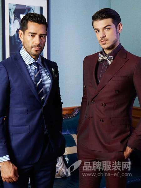 BEAUBERT博铂定制男装2017秋冬酒红色双排扣西服套装男英伦风时尚修身型西装外套两件套西装