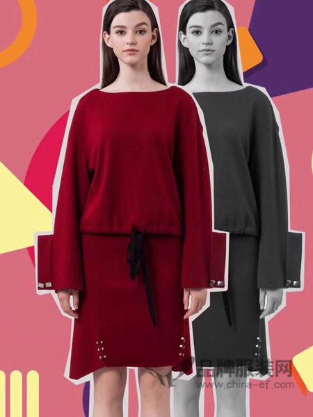 菲诺格诺女装2017秋冬褶皱欧美风大气灯笼袖三宅褶皱连衣裙