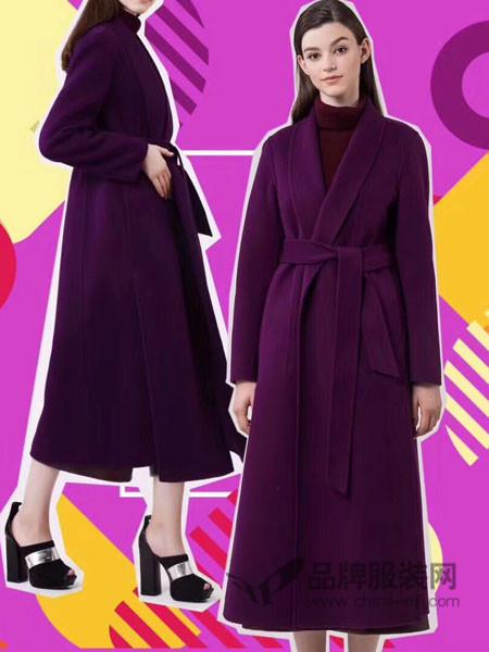菲诺格诺女装2017秋冬 酒红收腰显瘦气质双面呢羊毛大衣