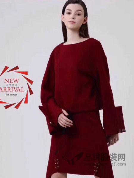 菲诺格诺女装2017秋冬欧美时尚气质红色不规则大摆长袖中长款连衣裙