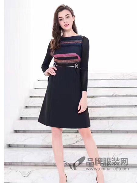 菲诺格诺女装2017秋冬时尚休闲条纹撞色上衣