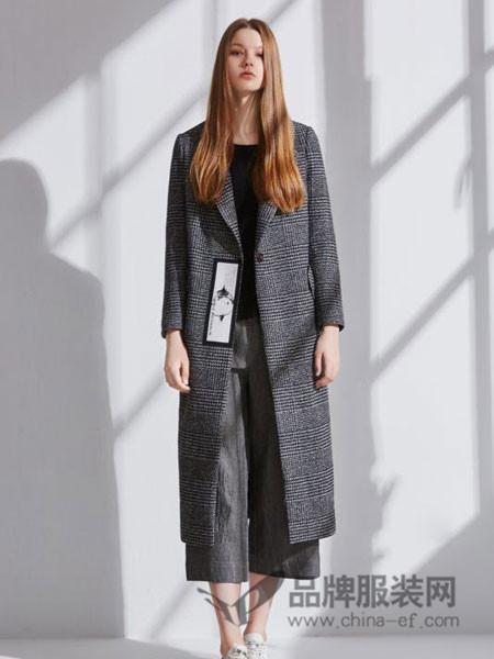 LISHANG 栗尚女装2017秋冬时尚欧式格子中长呢子外套