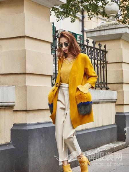 蔓黎国际女装2017秋冬狐狸毛口袋双面羊绒大衣中长款显瘦呢子外套
