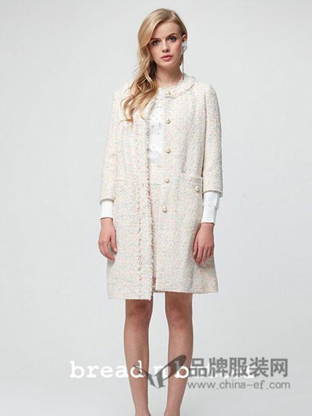 黄油面包女装2017秋冬七分袖连衣裙贴布大摆显瘦外套