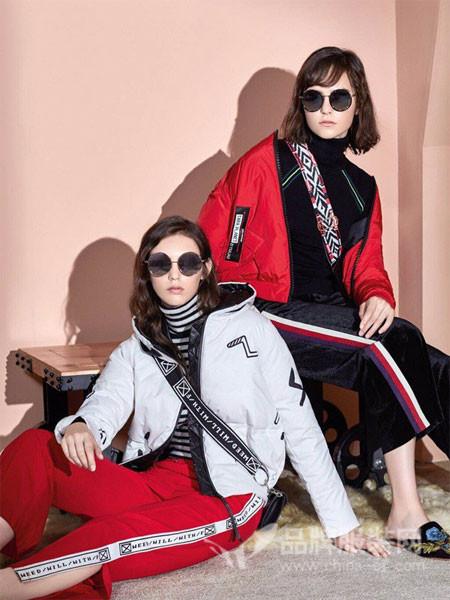 绫罗约女装2017秋冬版时尚修身假两件连帽外套加厚款冬装女