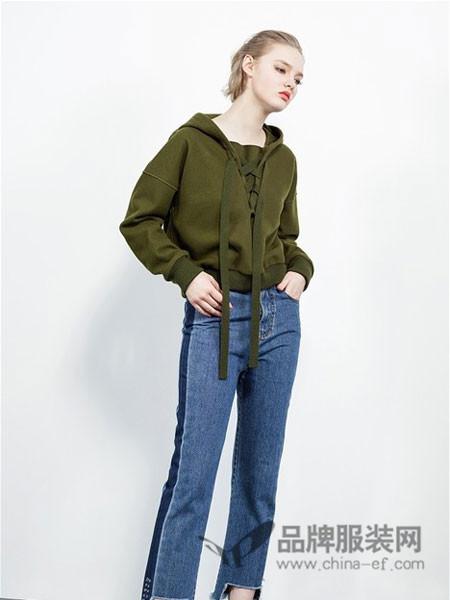 QDA女装2017秋冬商场同款女装时尚休闲连帽绑带螺纹卫衣